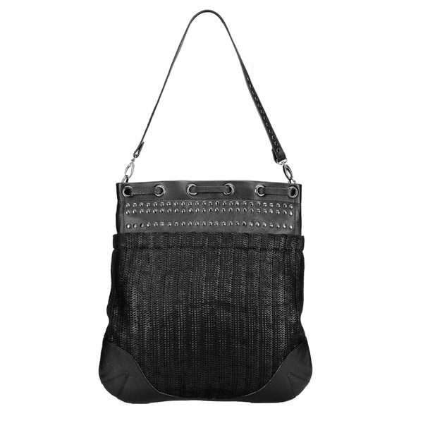 Phive Rivers Large Black Leather Stud Handbag