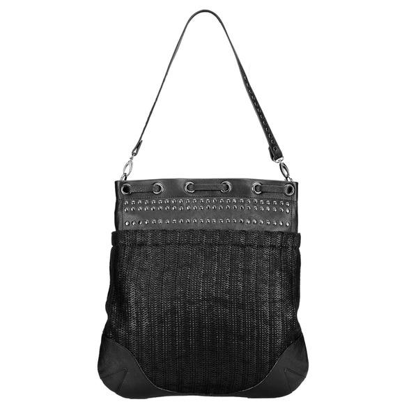 Phive Rivers Large Black Leather Stud Handbag