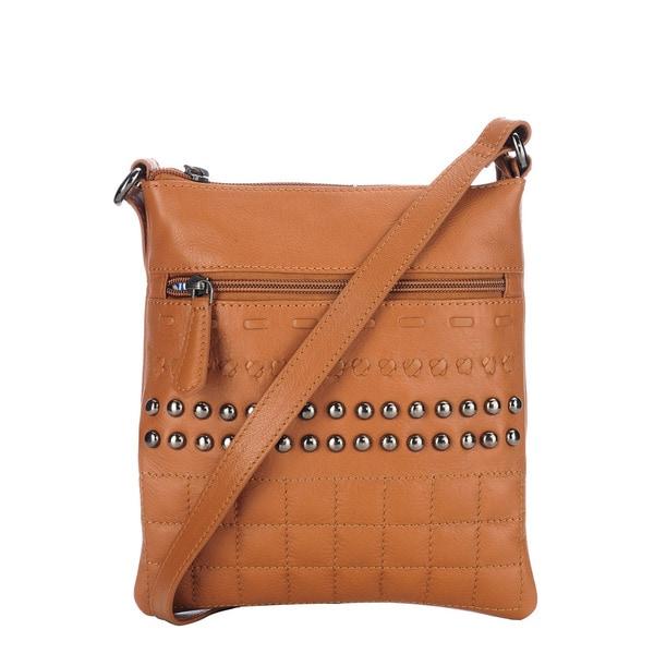 Phive Rivers Brown Leather Stud Crossbody Handbag