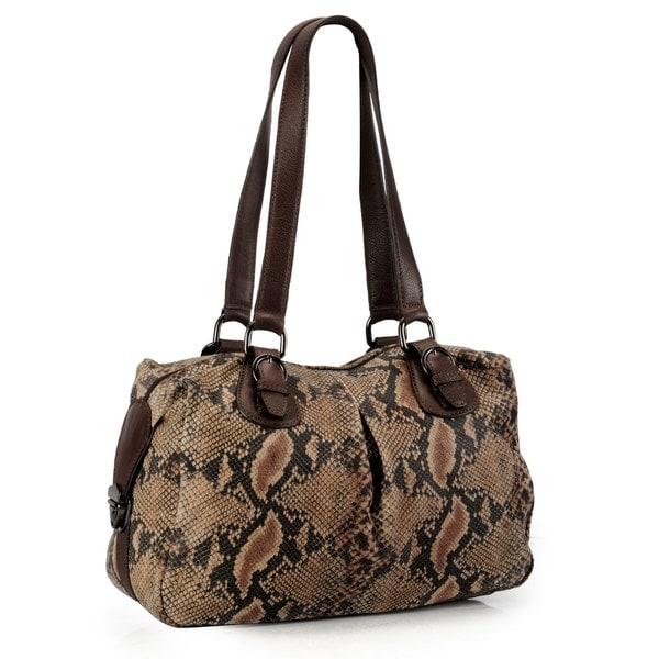 Phive Rivers Brown Leather Snake Print Handbag