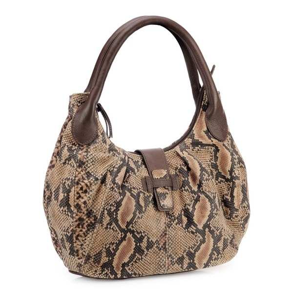 Phive Rivers Brown Leather Snakeskin Print Handbag