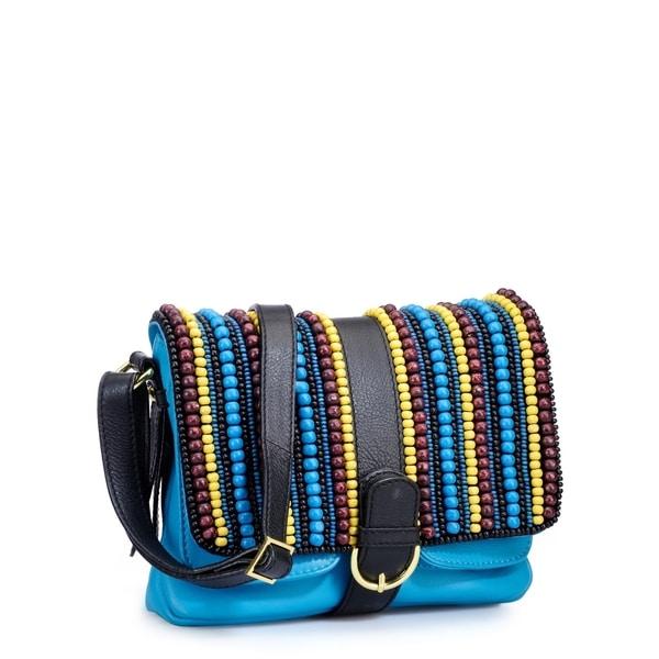 Phive Rivers Blue Leather Multi Beaded Handbag