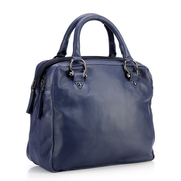 Phive Rivers Large Navy Leather Dual Compartment Handbag