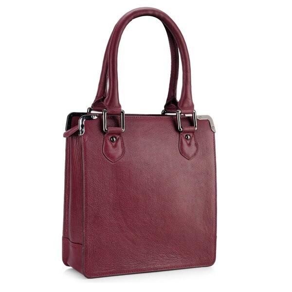 Phive Rivers Red Leather Zip-top Handbag