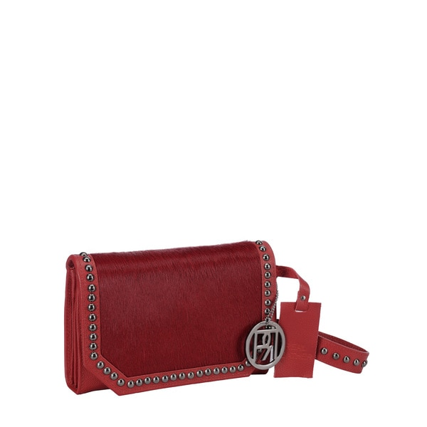Phive Rivers Red Pony Leather Clutch Handbag