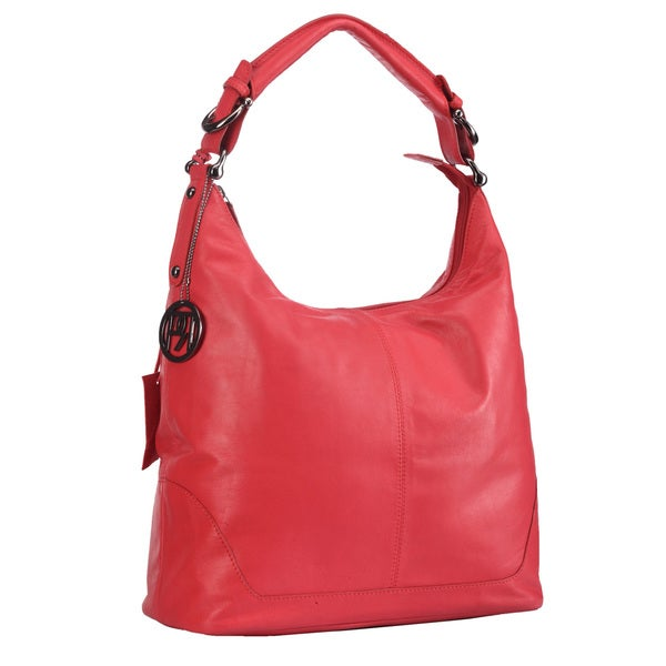 Phive Rivers Red Leather Top Zip Handbag