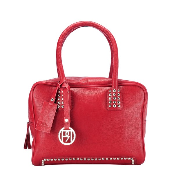 Phive Rivers Red Leather Studded Handbag