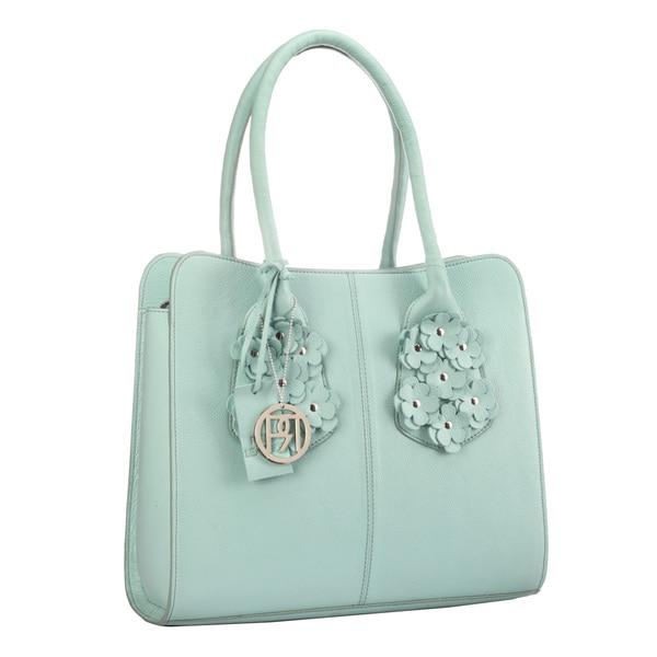 Phive Rivers Mint Green Leather Flower Handbag