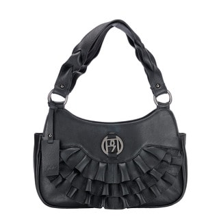Phive Rivers Black Leather Ruffle Handbag (Italy)