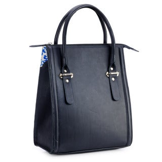 Phive Rivers Tall Navy Blue Leather Satchel Bag (Italy)