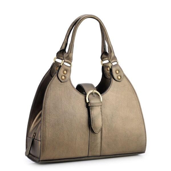Phive Rivers Gold Leather Buckle Shoulder Bag