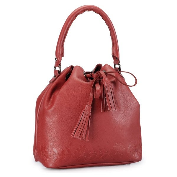 Phive Rivers Red Leather Embossed Flowers Drawstring Shoulder Bag
