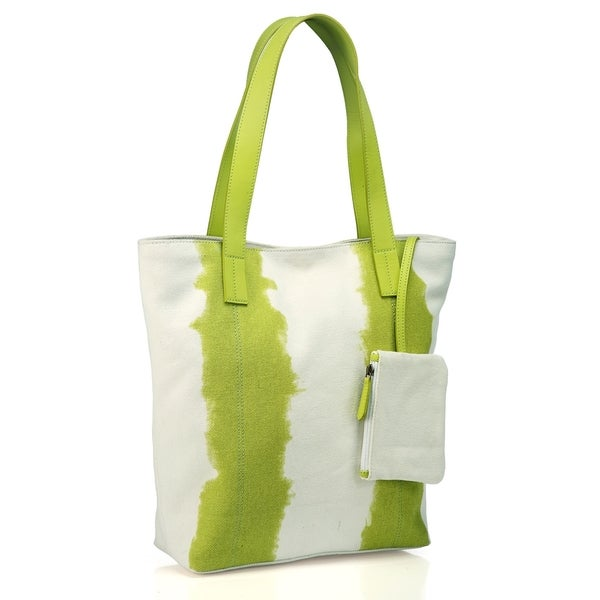 Phive Rivers Leather Green/ White Tote Bag