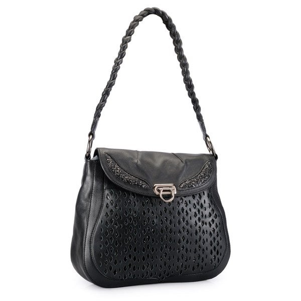 Phive Rivers Black Leather Cut-out Glitter Shoulder Bag