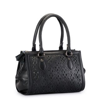 Phive Rivers Black Leather Glitter Cut-out Shoulder Bag (Italy)