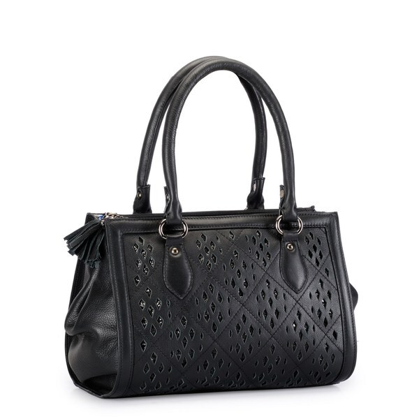 Phive Rivers Black Leather Glitter Cut-out Shoulder Bag