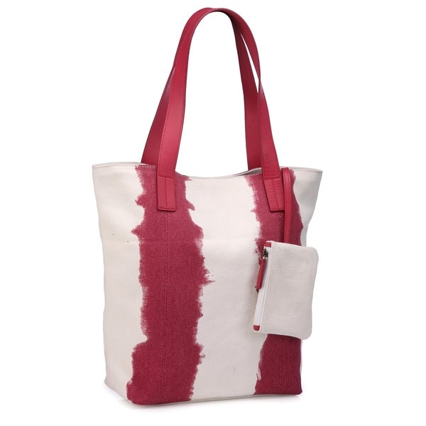 Phive Rivers Leather Red/ White Tote Bag
