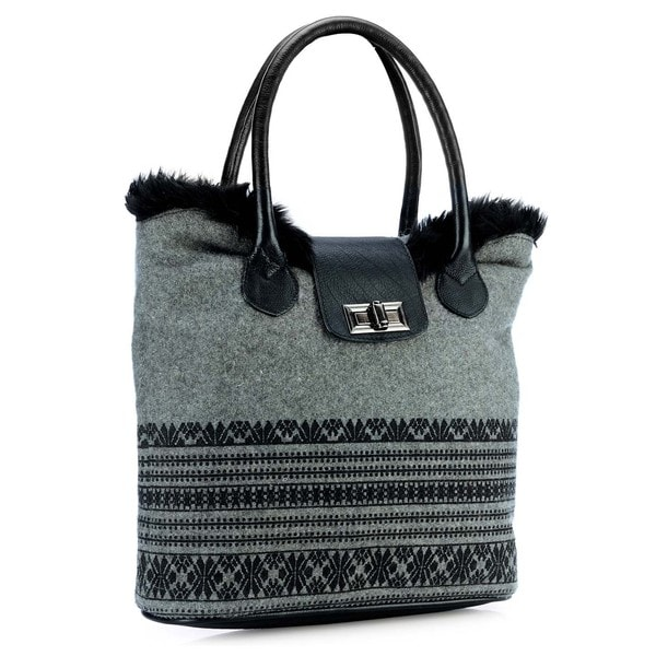 Phive Rivers Leather Black Print Tote Bag