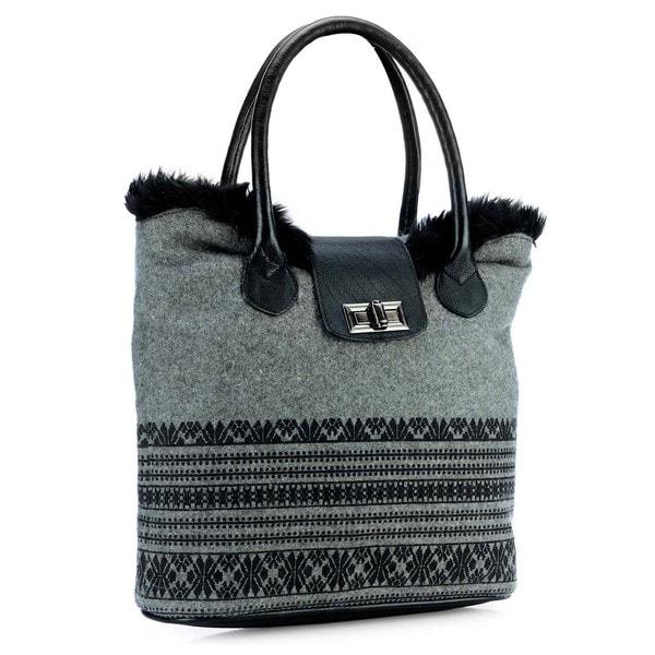Phive Rivers Leather Black Print Tote Bag