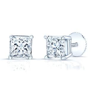 Estie G 14k White Gold 1ct Princess-cut Diamond Screw-back Stud Earrings (H-I, VS1-VS2)