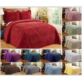 Better Trends Rio Collection in Floral Design 100% Cotton Tufted Chenille Bedspreads & Shams