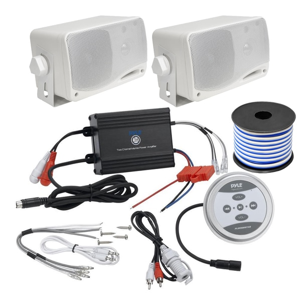 Pyle KTHSP410 600-watt 2-channel Bluetooth Marine Sound System with Pair of 3.5-inch Box Speakers and 50-foot Wire
