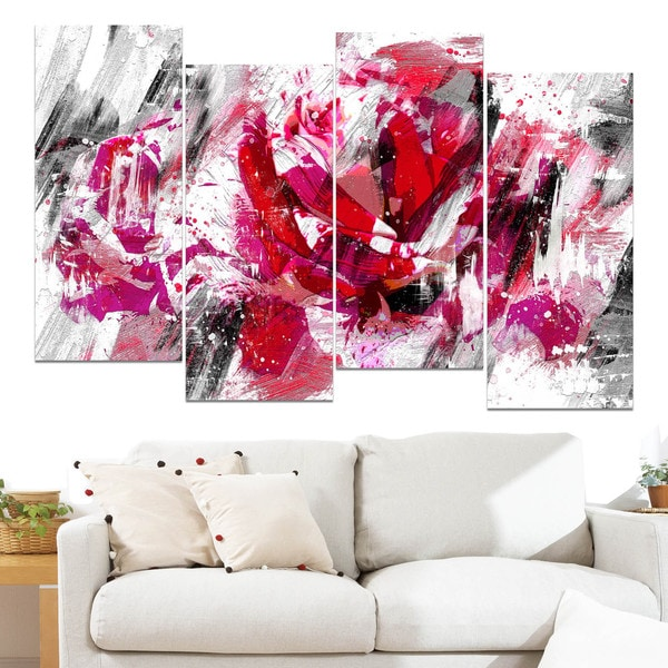 Design Art 'Red Rose' Canvas Art Print