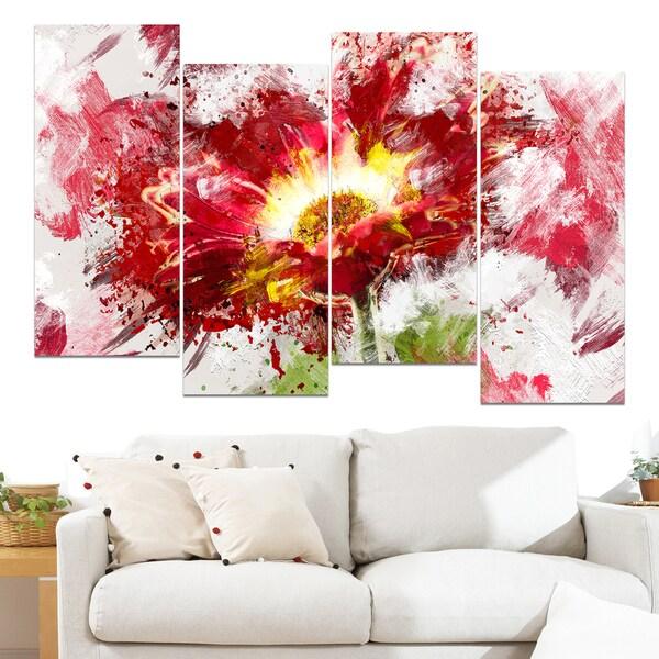 Design Art 'Red Abstract Sunflower' Canvas Art 15587766