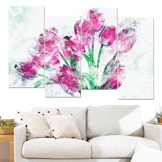 Design Art 'Pink Tulips' Canvas Art