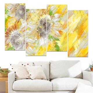 Design Art 'Yellow and Green Flower Art' Canvas Art Print