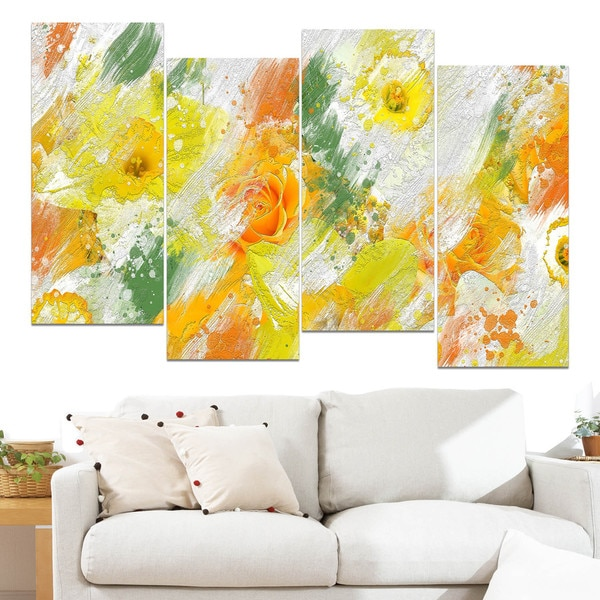 Design Art 'Abstract Daisies' Canvas Art Print 15587777