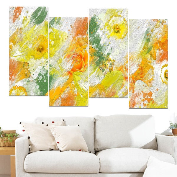 Design Art 'Abstract Daisies' Canvas Art Print 15587775
