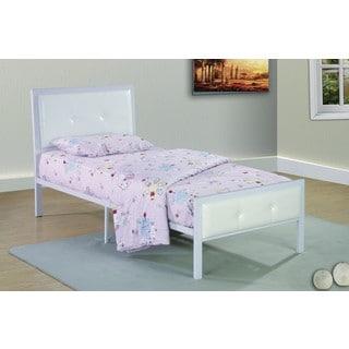 Metal Frame Upholstered White Bed