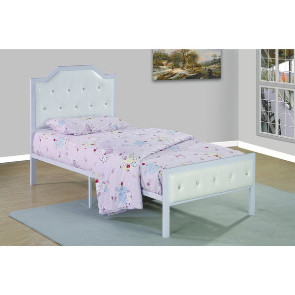 Metal Frame Upholstered Bed White/White