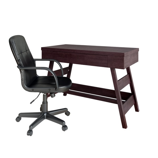 Wfp 970 z1 folio 2 piece modern wenge desk and office chair set