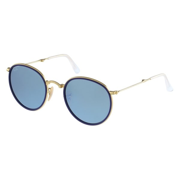 Ray-Ban Folding Round RB3517 Gold Silver Mirror Sunglasses