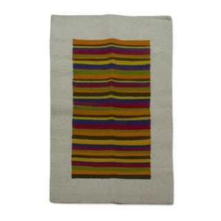 Handcrafted Wool 'Joyous Color' Rug 2.5x4 (Mexico)
