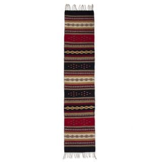 Handcrafted Wool 'Diamond Path' Zapotec Runner 1.5x6 (Mexico)