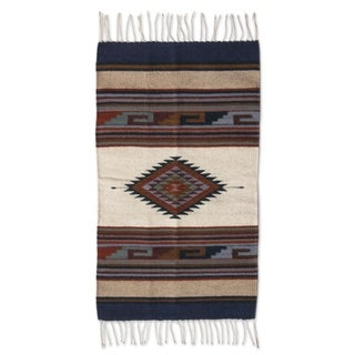 Desert Diamond Beige Blue Red Brown Natural Dyes 100-percent Wool Handmade Mexican Zapotec Decor Accent Area Rug (2x3)