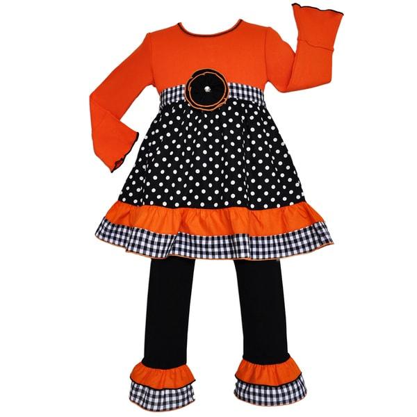 AnnLoren Girls Black & Orange Polka Dot & Gingham Dress Set