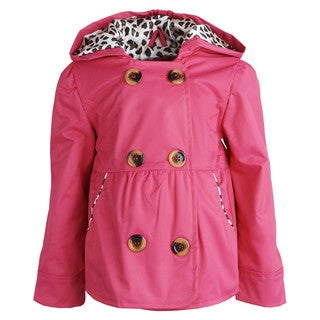 Pink Platinum Girls' Hooded Dressy Jacket with Leopard Lining