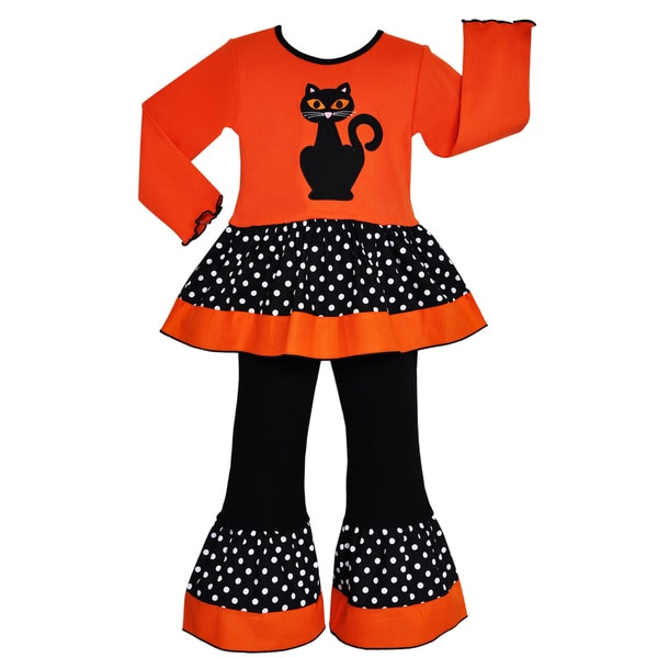 AnnLoren Girls Halloween Black Cat Tunic and Pants Outfit