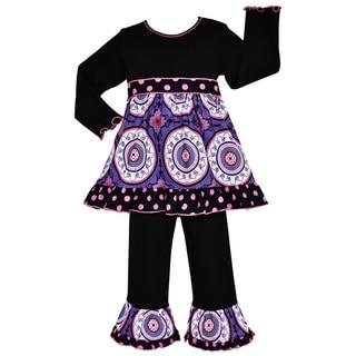 AnnLoren Girls' Designer Purple Medallion and Dots 2-piece Dress/ Pants Outfit