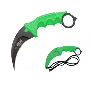 Curved Biohazard Green Karambit Zombie 7.5-inch Stainless Steel Blade Knife