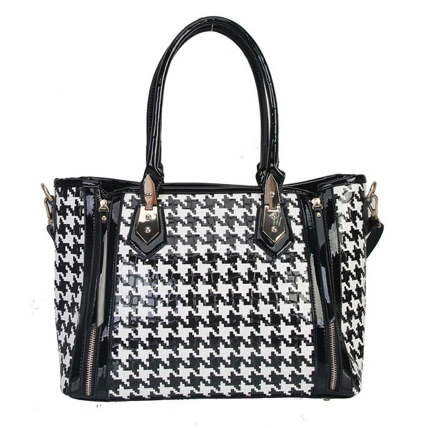 Rimen & Co. Double Hounds-tooth Pattern Satchel Handbag