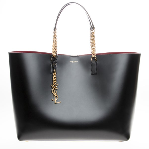 Saint Laurent Black/ Red Treated Leather Tote