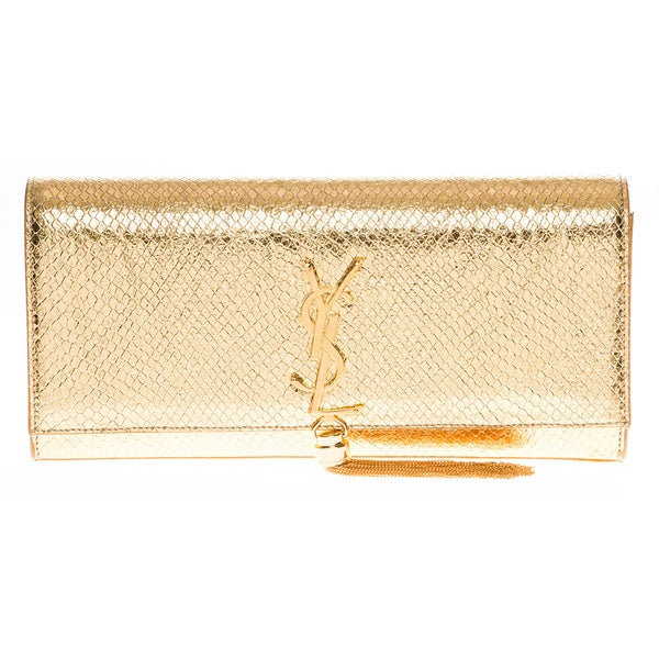 Saint Laurent Monogram Python Embossed Tassel Metallic Clutch