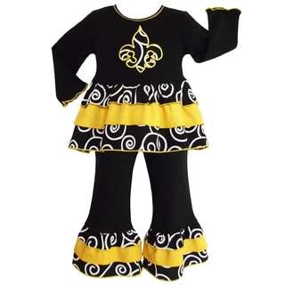 AnnLoren Girls Black & Yellow Fleur De Lis Rumba Outfit