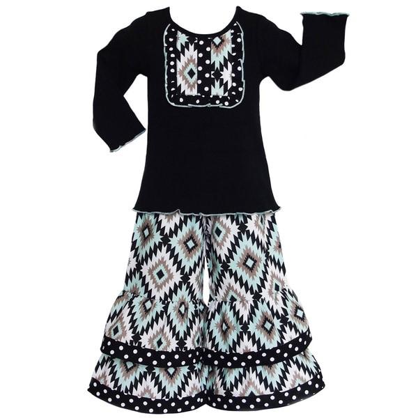 AnnLoren Girls Boutique Aztec Lattice Long Sleeve Shirt and Pants Outfit