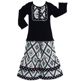 AnnLoren Girls Boutique Aztec Lattice Long Sleeve Shirt and Pants Outfit
